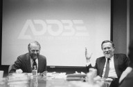 Adobe co-founders John Warnock (right) and Chuck Geschke., Adobe co-founders John Warnock (right) and Chuck Geschke.
