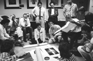 Adobe's 1990 Photoshop Invitational, which included painter David Hockney (with dachshund in lap)., Adobe's 1990 Photoshop Invitational, which included painter David Hockney (with dachshund in lap).