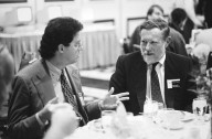 Adobe founder Chuck Geschke (right) and a colleague., Adobe founder Chuck Geschke (right) and a colleague.