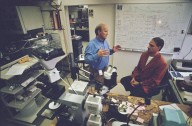Peter Vettiger (left), manager of IBM's Micro- and Nanomechanics Group, and Gerd Binning (right), a 1986 Nobel Laureate in Physics., Peter Vettiger (left), manager of IBM's Micro- and Nanomechanics Group, and Gerd Binning (right), a 1986 Nobel Laureate in Physics.