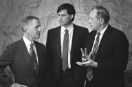 NeXT Founder Steve Jobs (center) with members of NeXT's Board of Directors H. Ross Perot (left) and John P. Crecine, Carnegie Mellon's senior vice president for academic affairs. Both Perot and Carnegie Mellon made substantial financial investments in NeXT., NeXT Founder Steve Jobs (center) with members of NeXT's Board of Directors H. Ross Perot (left) and John P. Crecine, Carnegie Mellon's senior vice president for academic affairs. Both Perot and Carnegie Mellon made substantial financial investments in NeXT.