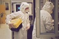 IBM clean room technicians., IBM clean room technicians.