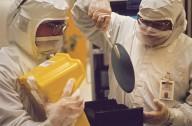 IBM clean room employees at work., IBM clean room employees at work.