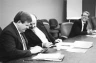 Venture capitalists William Hearst (center) and John Doerr (right) in a meeting with a colleague., Venture capitalists William Hearst (center) and John Doerr (right) in a meeting with a colleague.