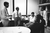 From left to right: Vinod Khosla, Frank Caufield and John Doerr of Kleiner Perkins with Sun co-founder Scott McNealy (seated in chair)., From left to right: Vinod Khosla, Frank Caufield and John Doerr of Kleiner Perkins with Sun co-founder Scott McNealy (seated in chair).