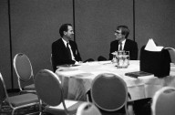 John Doerr, a Kleiner Perkins partner (right), in conversation with an unidentified colleague., John Doerr, a Kleiner Perkins partner (right), in conversation with an unidentified colleague.