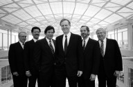 Apple's executive management team (from left to right): Kevin Sullivan, senior vice president of human resources; Joseph Graziano, executive vice president and chief financial officer; Michael Spindler, president and chief operating officer; John Sculley, chairman of the board and chief executive officer; David Nagel, senior vice president of the advanced technology group; and Albert Eisenstat, executive vice president and secretary, in the Apple Research and Development Center in Cupertino California., Apple's executive management team (from left to right): Kevin Sullivan, senior vice president of human resources; Joseph Graziano, executive vice president and chief financial officer; Michael Spindler, president and chief operating officer; John Sculley, chairman of the board and chief executive officer; David Nagel, senior vice president of the advanced technology group; and Albert Eisenstat, executive vice president and secretary, in the Apple Research and Development Center in Cupertino California.