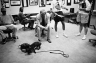 Artist David Hockney with his beloved dachshunds at the 1990 Adobe Photoshop Invitational., Artist David Hockney with his beloved dachshunds at the 1990 Adobe Photoshop Invitational.