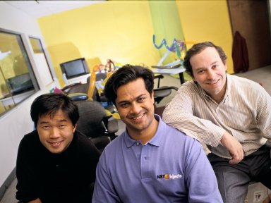 The co-founders of NetObjects: (left to right) Clement Mok, Samir Arora and David Kleinberg., The co-founders of NetObjects: (left to right) Clement Mok, Samir Arora and David Kleinberg.
