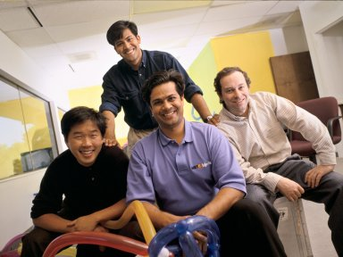 The co-founders of NetObjects (left to right in front row): Clement Mok, Samir Arora and David Kleinberg, along with Vice President of Product Development Sal Arora (standing)., The co-founders of NetObjects (left to right in front row): Clement Mok, Samir Arora and David Kleinberg, along with Vice President of Product Development Sal Arora (standing).