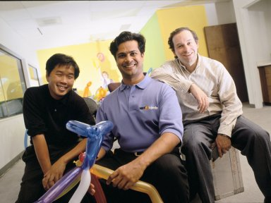 The co-founders of NetObjects (left to right): Clement Mok, Samir Arora and David Kleinberg., The co-founders of NetObjects (left to right): Clement Mok, Samir Arora and David Kleinberg.
