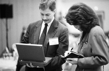 Kevin Compton of Kleiner Perkins (left) and an unidentified female colleague., Kevin Compton of Kleiner Perkins (left) and an unidentified female colleague.