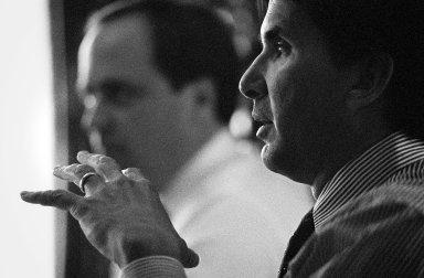 Brook Byers, a Kleiner Perkins partner, in foreground., Brook Byers, a Kleiner Perkins partner, in foreground.