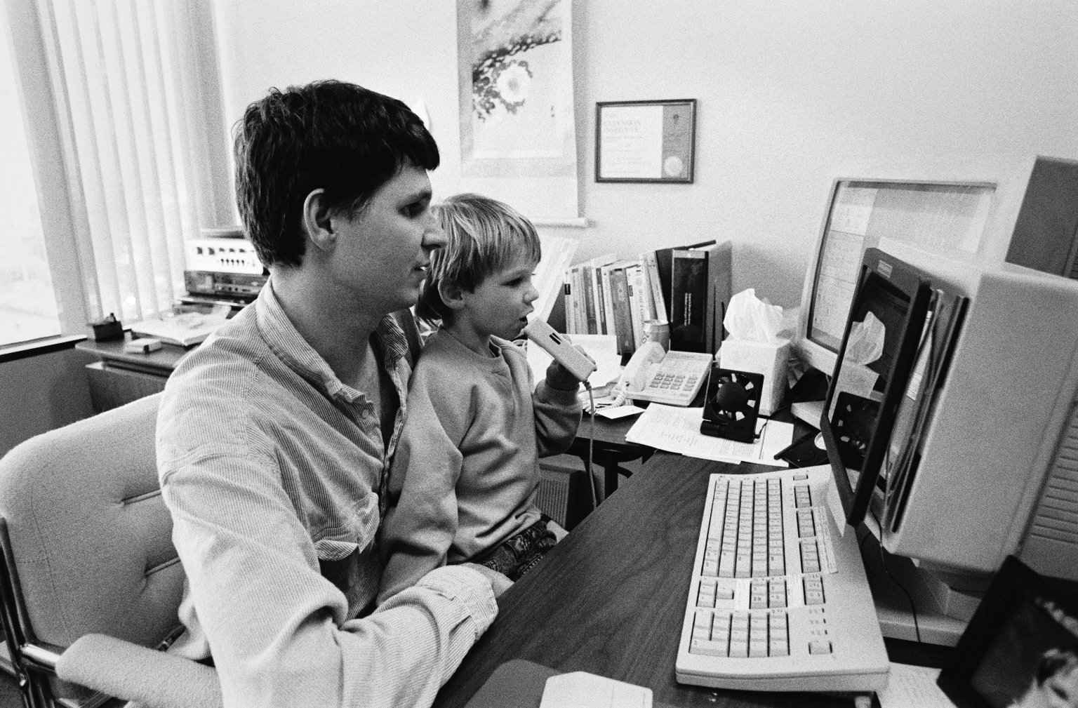 A Farallon engineer and his son at the office.