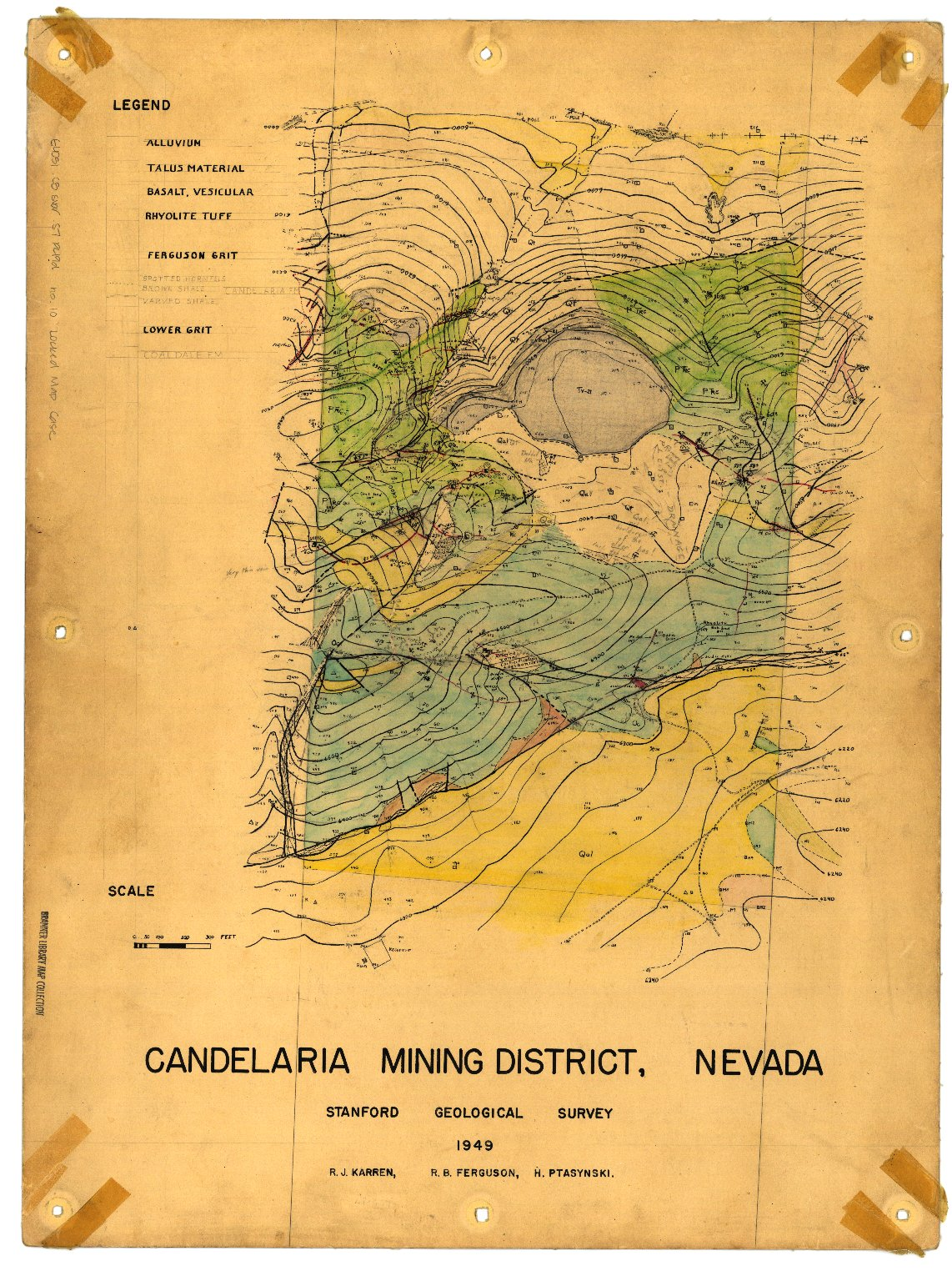 Geologic map of area ... , Candelaria Mining District, Nevada