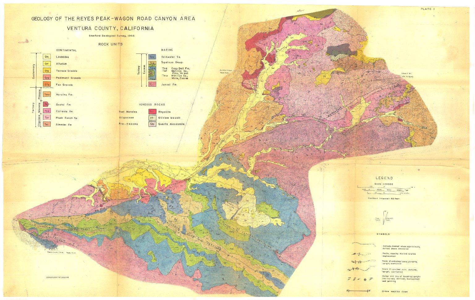 Geology of the Reyes Creek-Wagon Road Canyon area, Ventura County, California