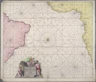 Wassende-Grade-Kaart van de Aetiopische Ocean beslooten met de kusten van Guinea, Angola, de Caffers en Brasilia., Wassende-Grade-Kaart van de Aetiopische Ocean beslooten met de kusten van Guinea, Angola, de Caffers en Brasilia.