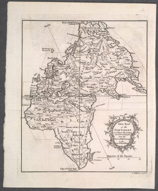 Old Map of the Continent according to the greatest diametrical Length from the Point of East Tartary to the Cape of Good Hope., Old Map of the Continent according to the greatest diametrical Length from the Point of East Tartary to the Cape of Good Hope.