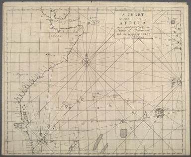 A chart of the coast of Africa from Mozambique to the Straits of Babelmandel and the adjoyning Ocean., A chart of the coast of Africa from Mozambique to the Straits of Babelmandel and the adjoyning Ocean.