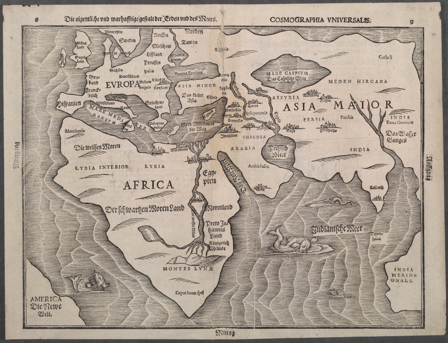 Die eigentliche und warhafftige gestalt der Erden und des Meers: Cosmographica Universalis.