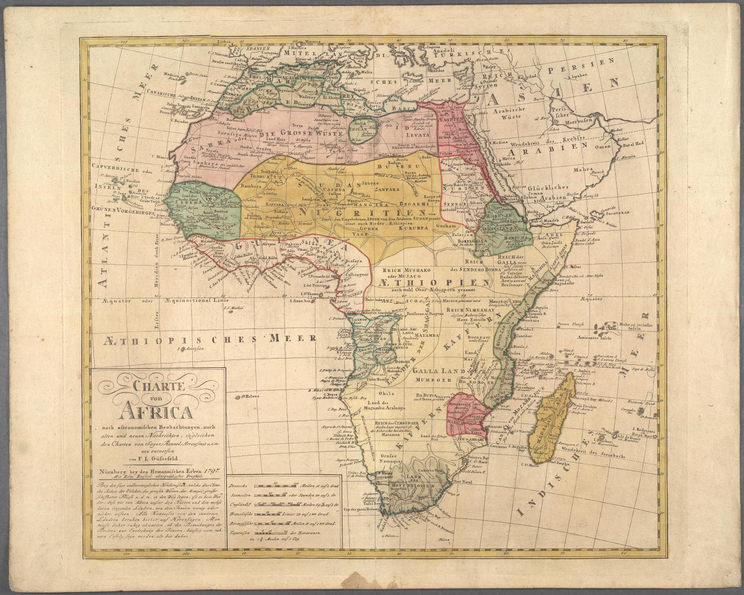 Charte von Africa nach astronomischen Beobachtungen, auch alten und neuen Nachrichten, ingleichen den Charten von Sayer, Rennel, Arrowsmit ...