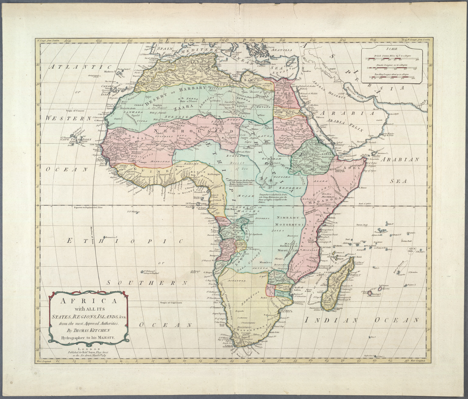Africa with all its States, Regions, Islands &ca. from the most Approved Authorities.