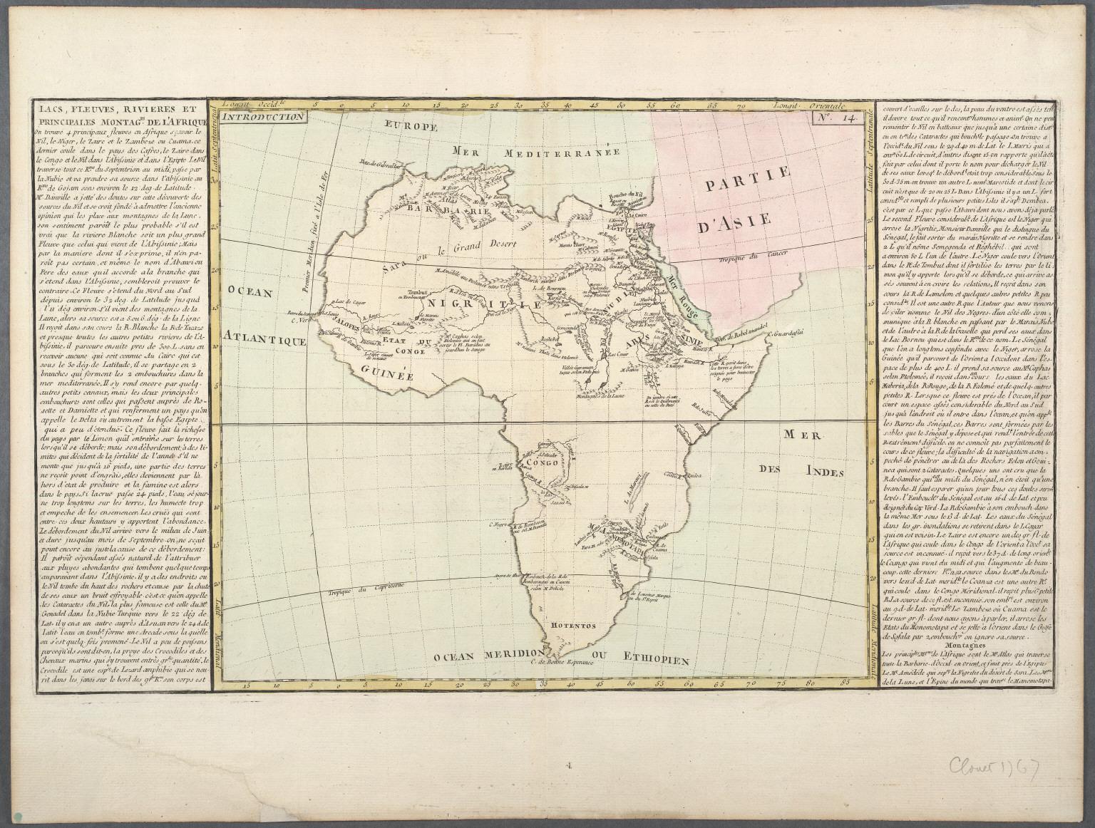 Lacs, Fleuves, Rivieres et Principales Montagnes de L'Afrique.