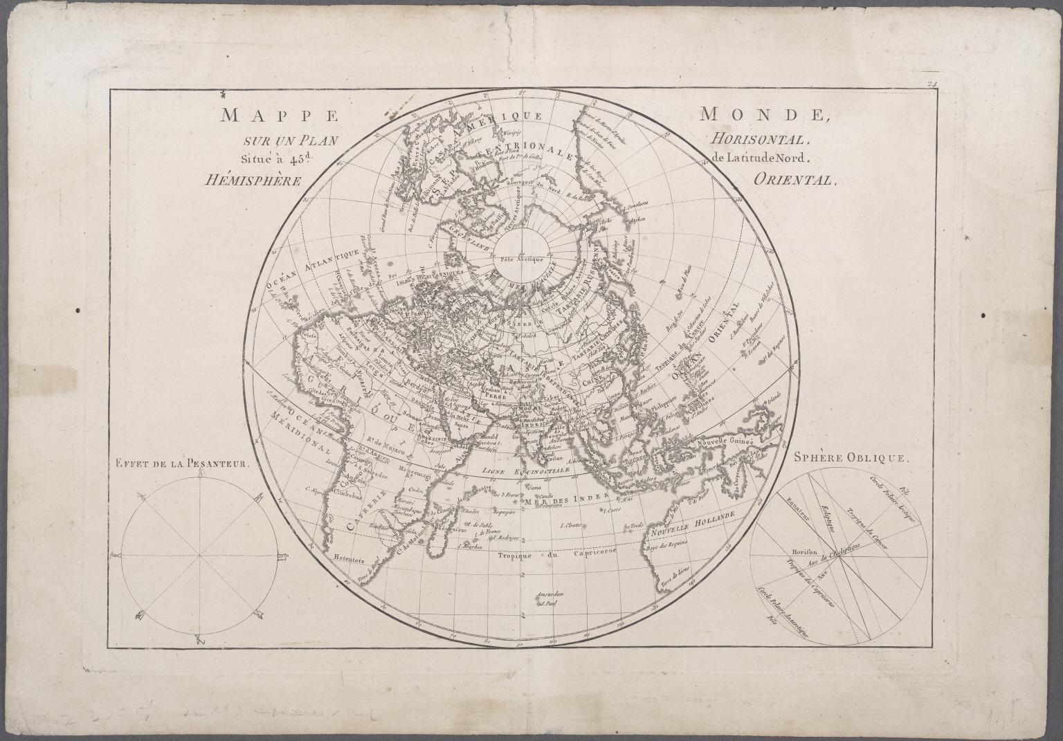 Mappe Monde, Sur Un Plan Horisontal. Situe a 45d de latitude Nord. Hemiphere Oriental.