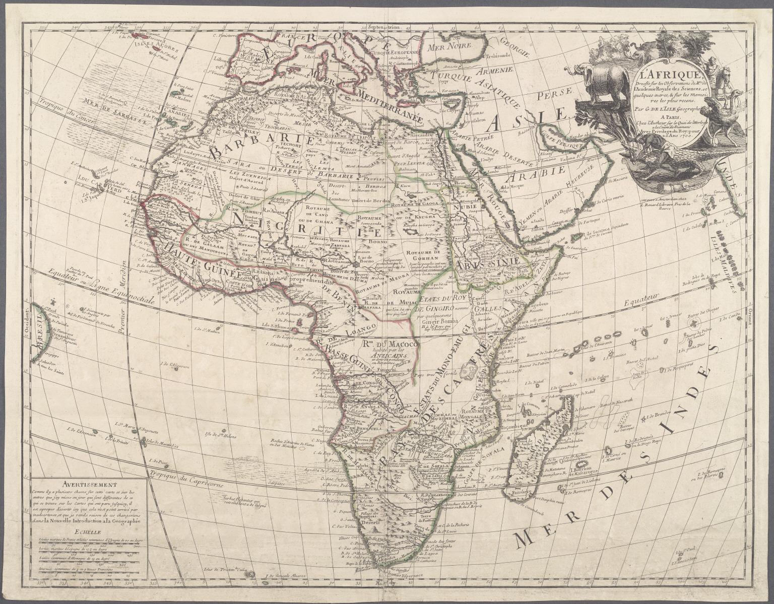 L'Afrique dressee sur les observations de Ms. de l'Academie Royale des Sciences, et quelques autres, et sur les memoires les plus recens.