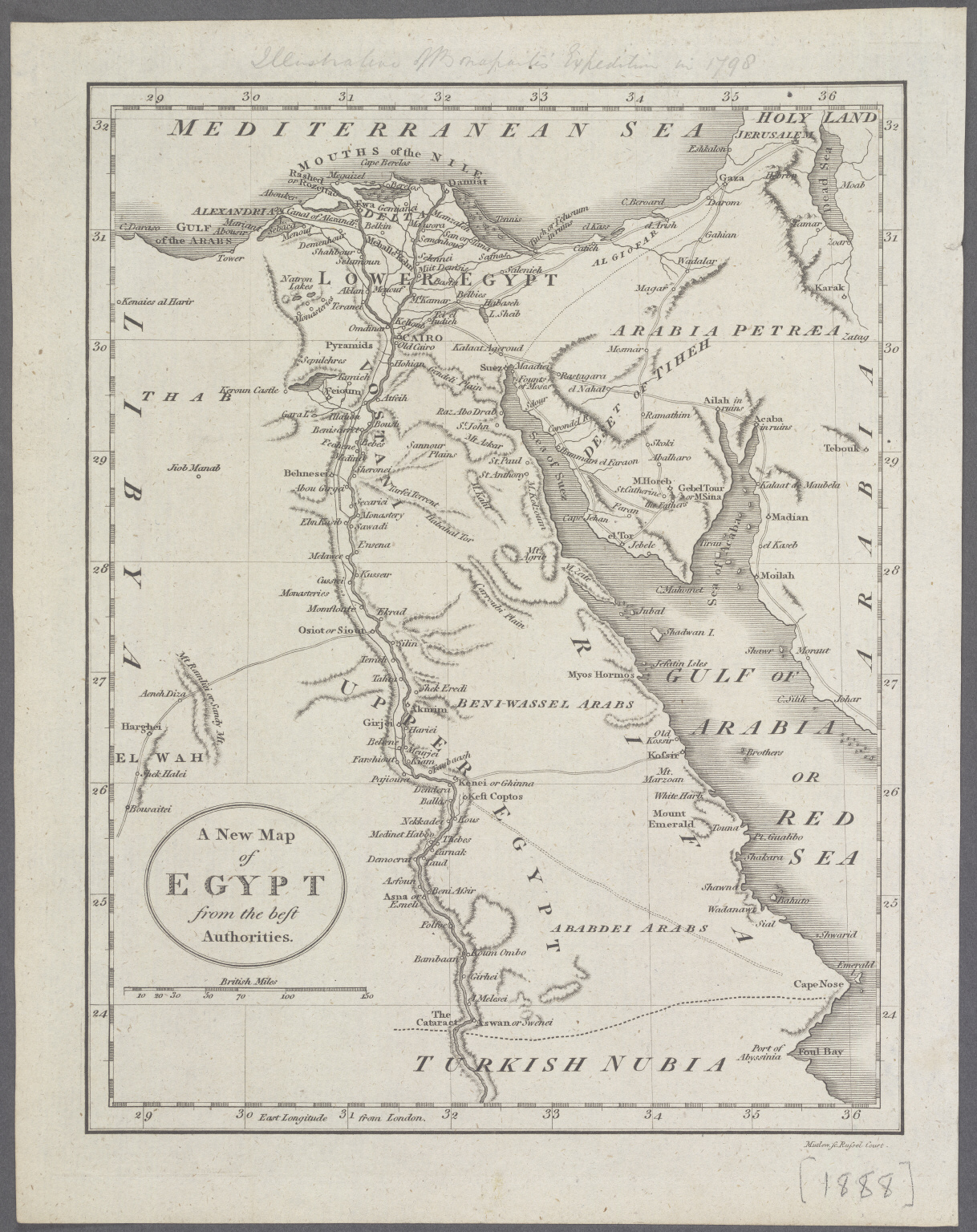 A New Map of Egypt from the best Authorities.