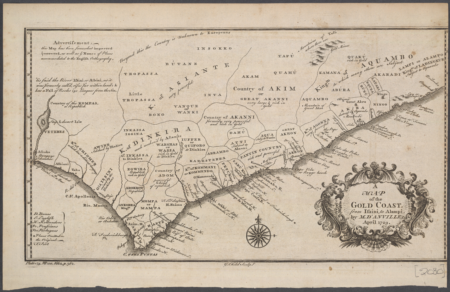 A Map of the Gold Coast from Issini to Alampi by Mr d'Amville April 1729.