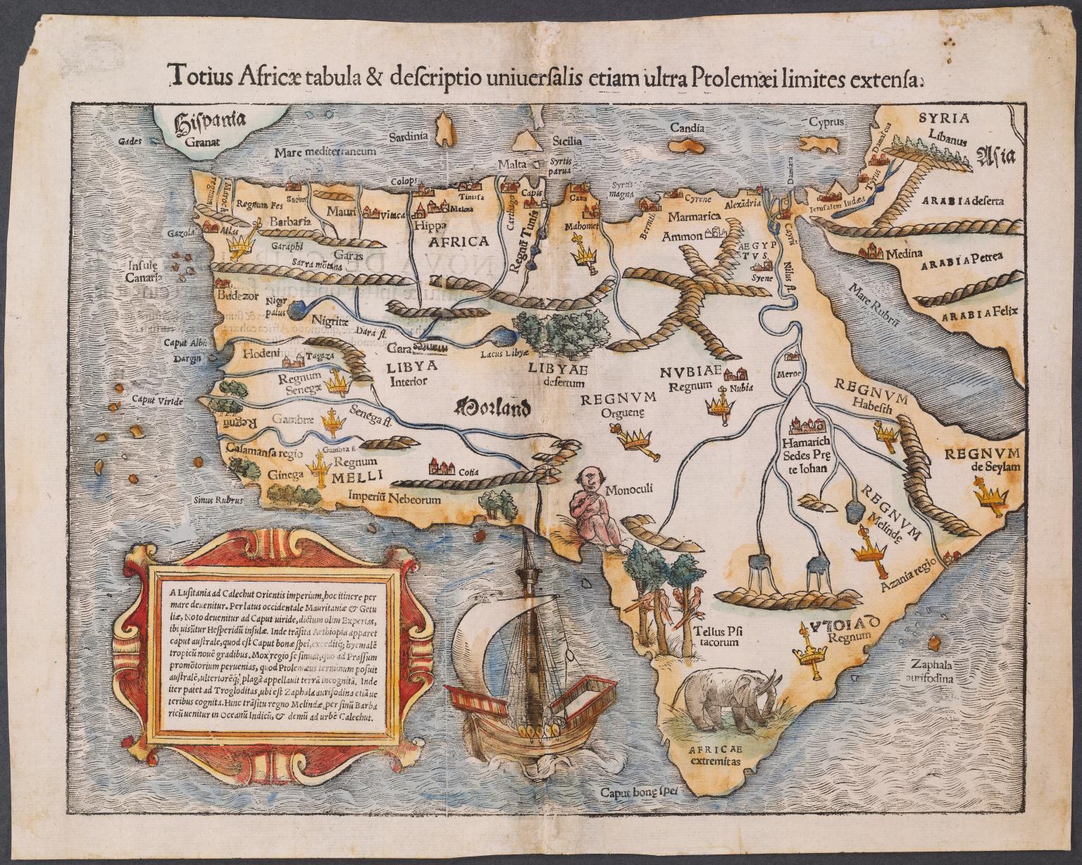 Totius Africae tabula et descriptio universalis etiam ultra Ptolemaei limites extensa.