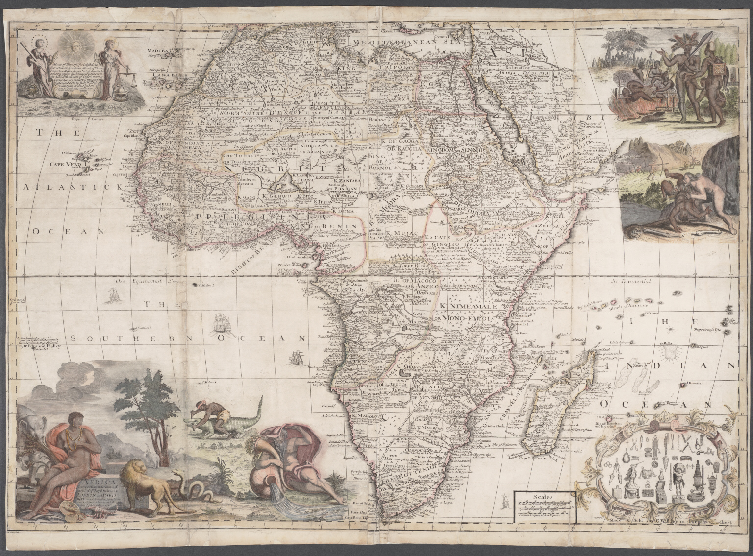 Africa corrected from observations of Mess. of ye Royal Societies at London and Paris.